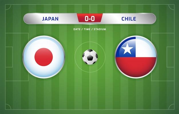 Табло трансляции сборных японии и чили по футболу. чемпионат южной америки 2019, группа c