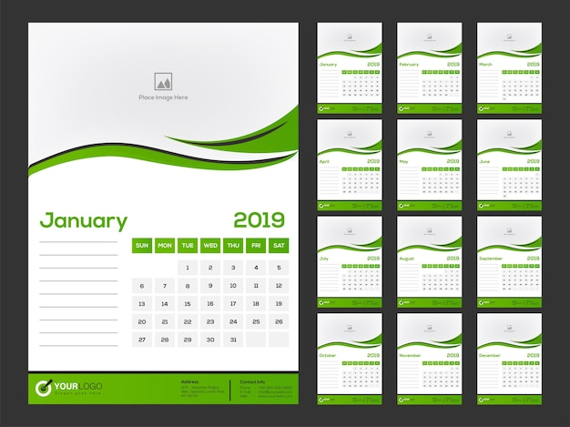 2019 calendar design, set of 12 months.
