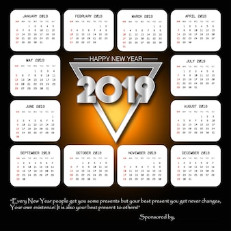 2019 calendar design with black background vector