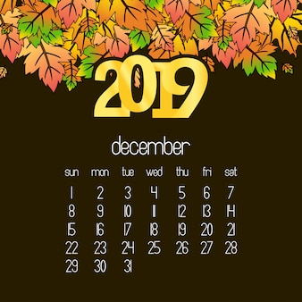 2019 calendar design with drak brown background vector
