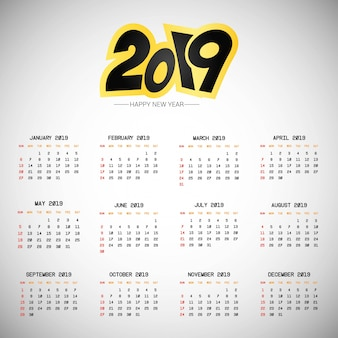 2019 calendar design with light background vector