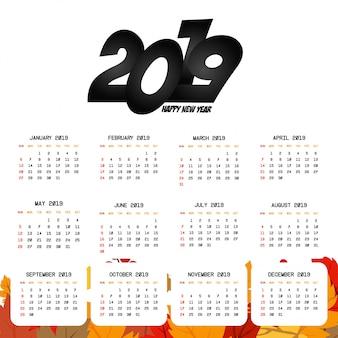 2019 calendar design with light background vector
