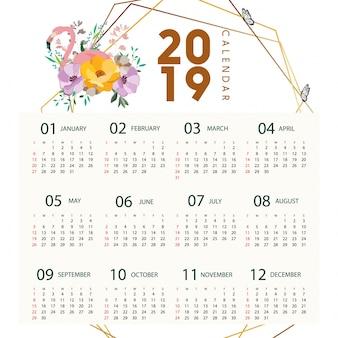 2019 calendar flamingo design