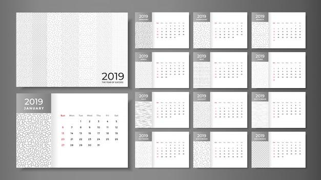 2019カレンダーテンプレートと卓上カレンダーのモックアップ