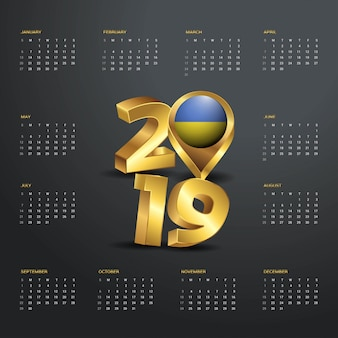 2019 calendar template. golden typography