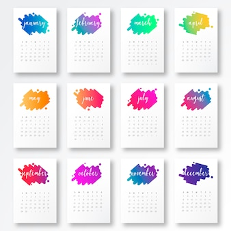 2019 Calendar Template with Colorful Shapes