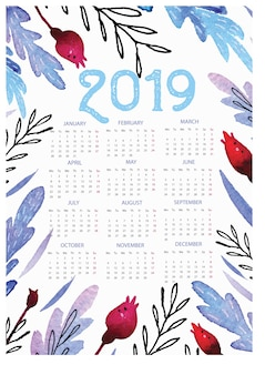 2019 calendar template with floral watercolor background