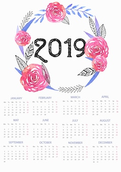 2019 calendar template with floral watercolor wreath