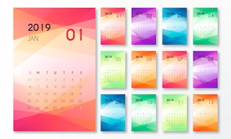 2019 Calendar with Abstract Shapes
