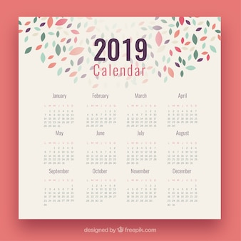 2019 calendar with colourful elements