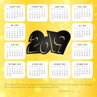 2019 calendar with creative design vector