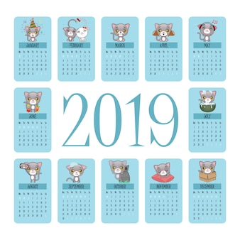 2019 calendar with cute gray cat moments