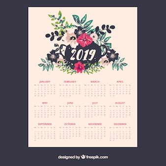 2019 calendar with floral elements