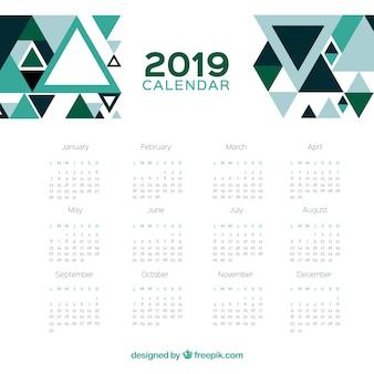 2019 calendar with a geometric design