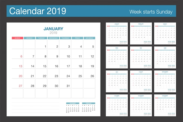 2019 calendar design Vector | Free Download