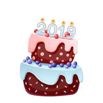 2019 candles on a festive cake. Happy New Year 2019 illustration isolated template