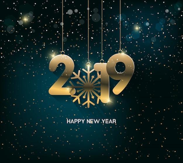 花火の背景で新年あけましておめでとうございます2019 chienese新年、豚の年。