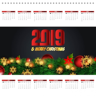2019 christmas calendar design vector