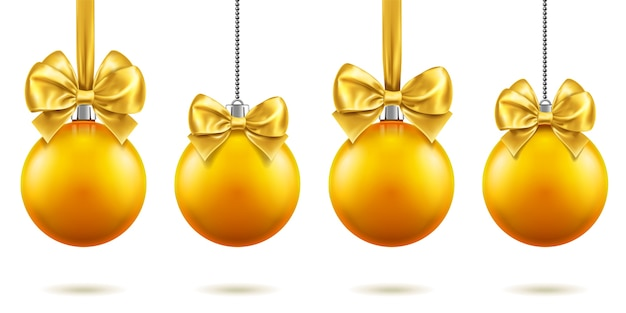 2019 christmas or new year realistic toys with bows hanging on chains. merry christmas fir tree decorations, golden baubles with bow-knots, golden spheres for xmas holidays. celebration theme
