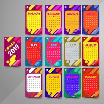 2019 colorful calendar