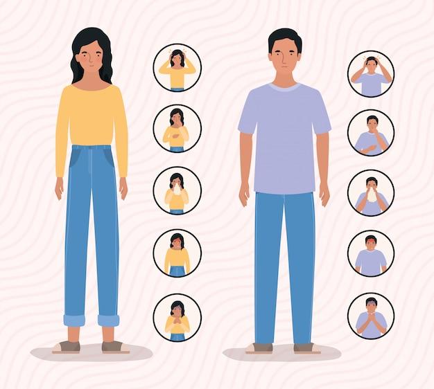 Женщина и мужчина с симптомами вируса нковируса 2019 года при коронавирусной инфекции covid 19 cov