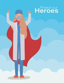 Женщина-врач герой с накидкой против вируса червя 2019 года covid 19 cov инфекция симптомы короны эпидемическая болезнь и иллюстрация медицинской темы