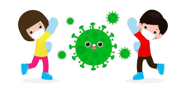 Люди борются с коронавирусом (2019-нков), мультипликационный персонаж мужчина и женщина атакуют covid-19, дети и защита от вирусов и бактерий, концепция здорового образа жизни на белом фоне