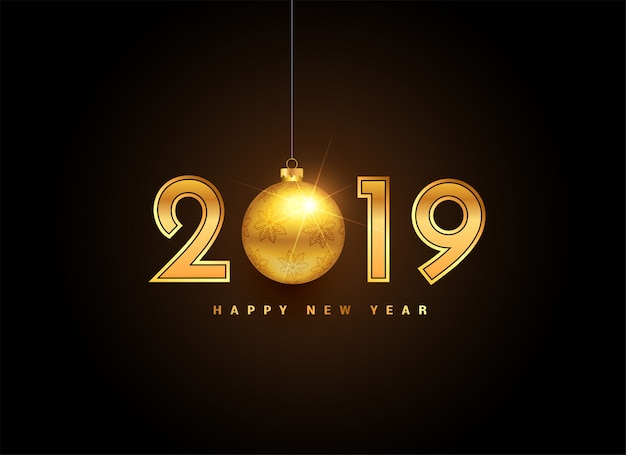 2019 golden new year lettering with christmas ball