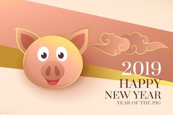2019 happy chinese new year of the pig elegant background