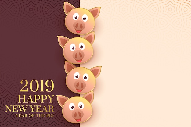 2019 happy chinese new year template with pig faces