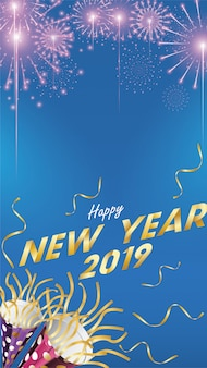 2019 Happy New Year Background for Greetings Card