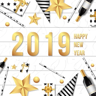 2019 happy new year background templae