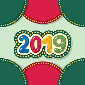 2019 happy new year colorful retro design