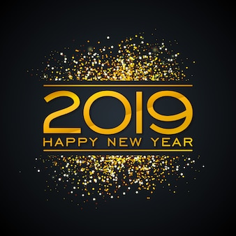 2019 happy new year design with gold number and confetti