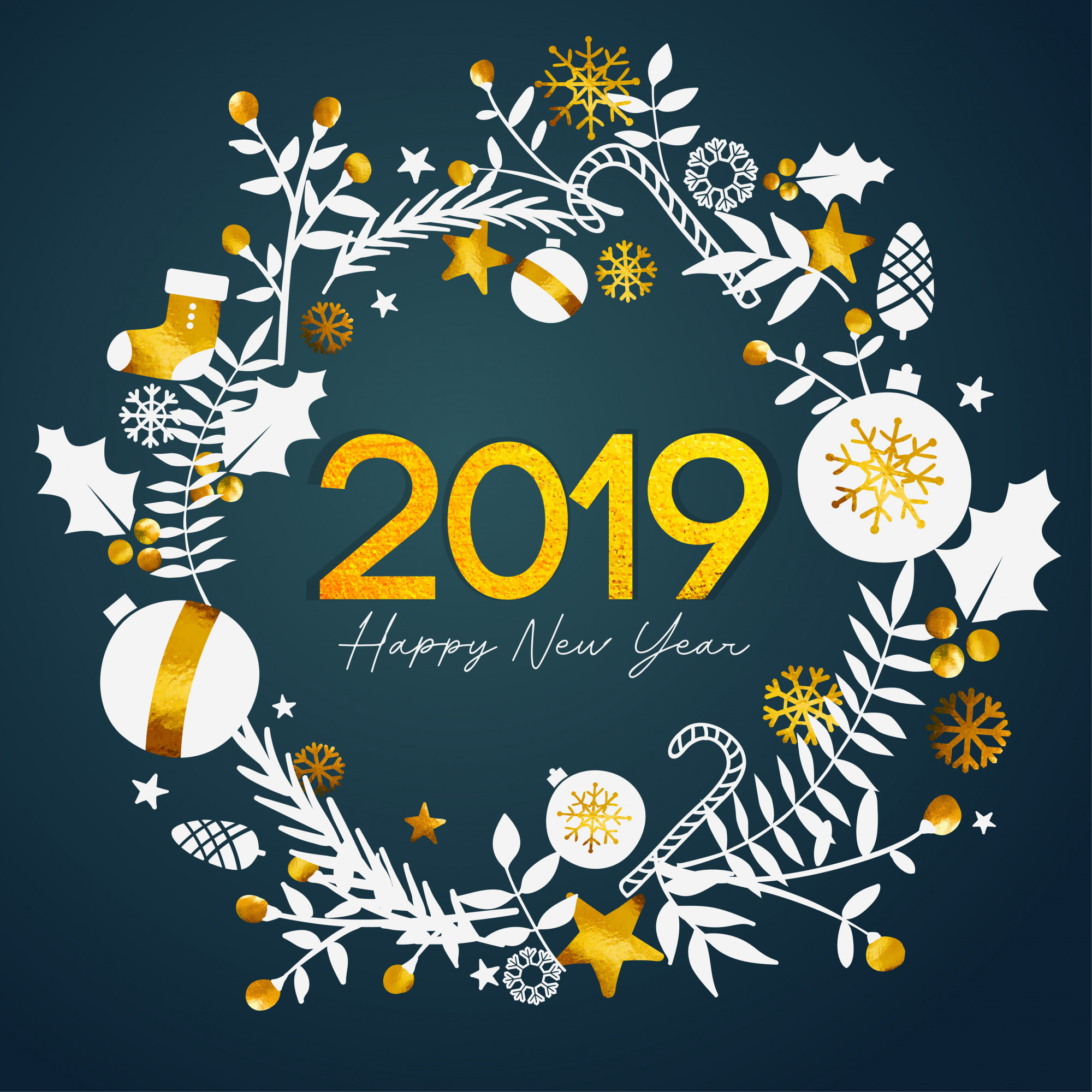 2019 Happy New Year Golden Text Inside Circle Golden Ornament Card on Dark Teal Background