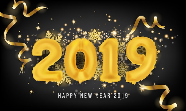 2019 happy new year greeting card background