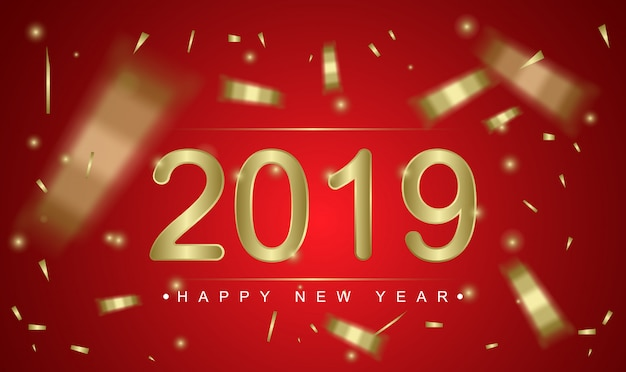 2019 happy new year greeting card template
