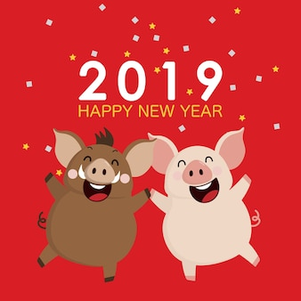 2019 happy new year greeting card.