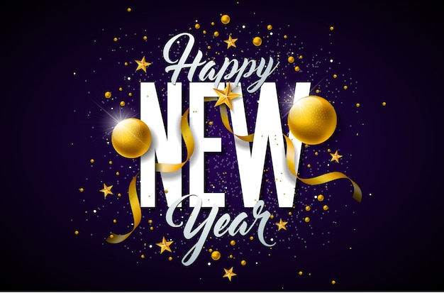 2019年、タイポグラフィレタリングとクリスマスボールを持つ新年あけましておめでとうざい