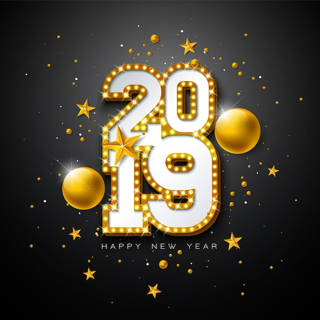 2019 happy new year illustration
