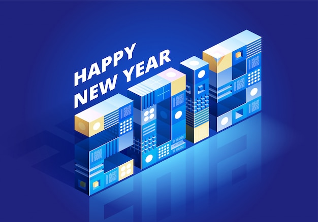 2019 happy new year isometric background