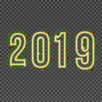 2019 happy new year neon text on transparent background