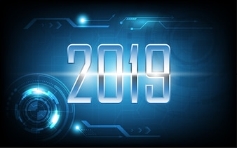 2019 happy new year on technology abstract background