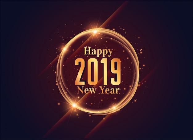 2019 happy new year shiny background design