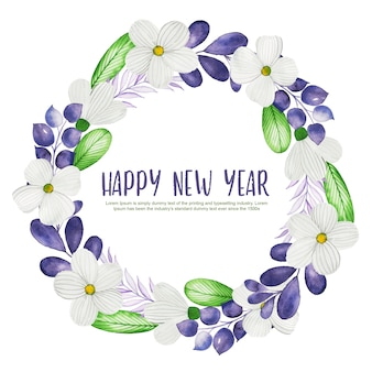 2019 happy new year watercolor floral and leaves wreath