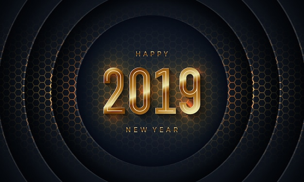 2019 happy new year with dark circle paper cut background.