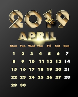 2019 happy new year with gold paper cut art and craft style. calendar for april