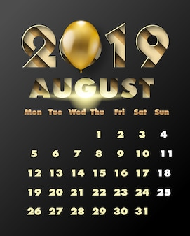 2019 happy new year with gold paper cut art and craft style. calendar for august