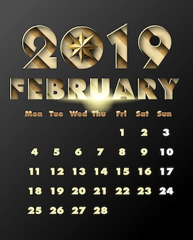 2019 happy new year with gold paper cut art and craft style . calendar for february