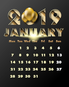 2019 happy new year with gold paper cut art and craft style. calendar for january